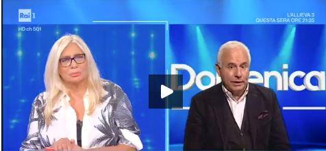 Un momento del dibattito: Mara Venier e Marco Tarquinio
