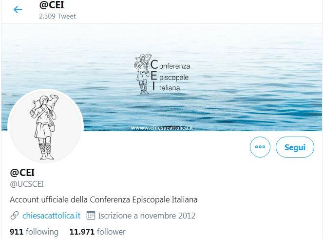 L'account twitter della Conferenza Episcopale Italiana