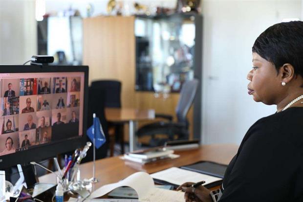 Il procuratore dell'Aia Fatou Bensouda durante l'audizione in teleconferenza al Consiglio di sicurezza Onu