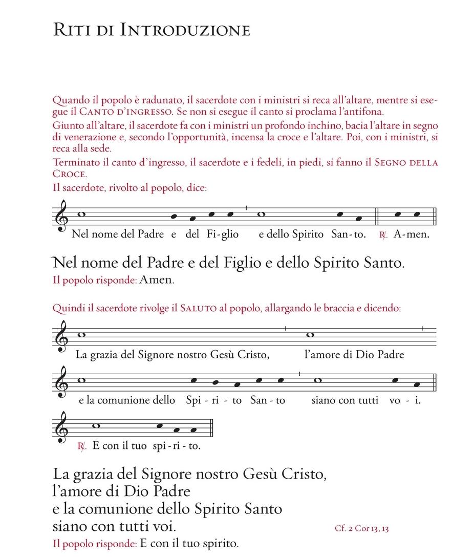 Una pagina tratta dal nuovo Messale Romano in italiano