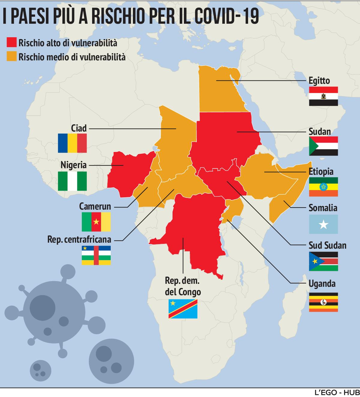 Cartina Africa Egitto.Coronavirus In Africa Ecco La Mappa Dei Paesi Piu A Rischio
