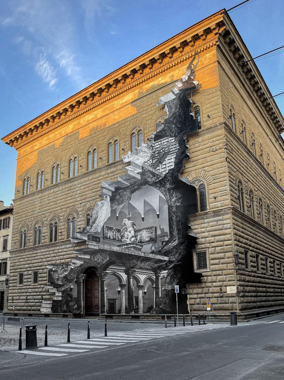"""""""La Ferita"""", installazione dell'artista francese JR per Palazzo Strozzi"""