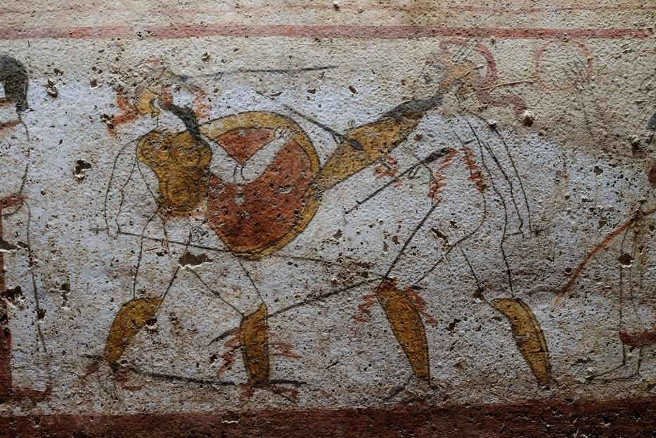 Gladiatori in una lastra dipinta dalla necropoli del Gaudo