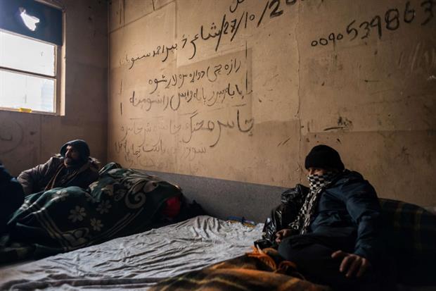 Migranti afghani nel campo profughi di Bihac, in Bosnia Erzegovina '