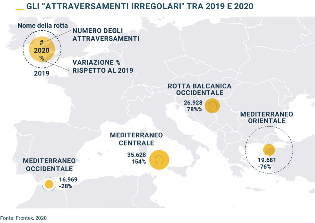 Le mappe degli ingressi in Europa elaborate con dati Unhcr e Frontex
