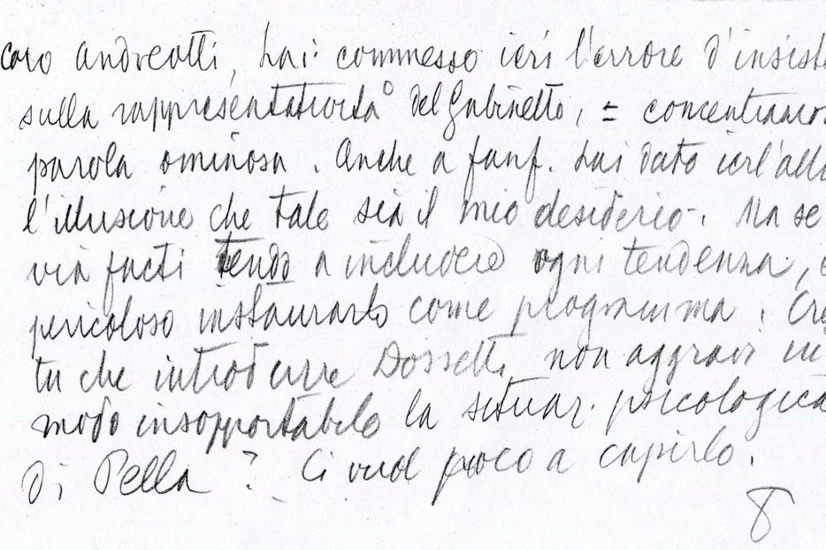 L'appunto inviato il 22 luglio 1951 da De Gasperi ad Andreotti