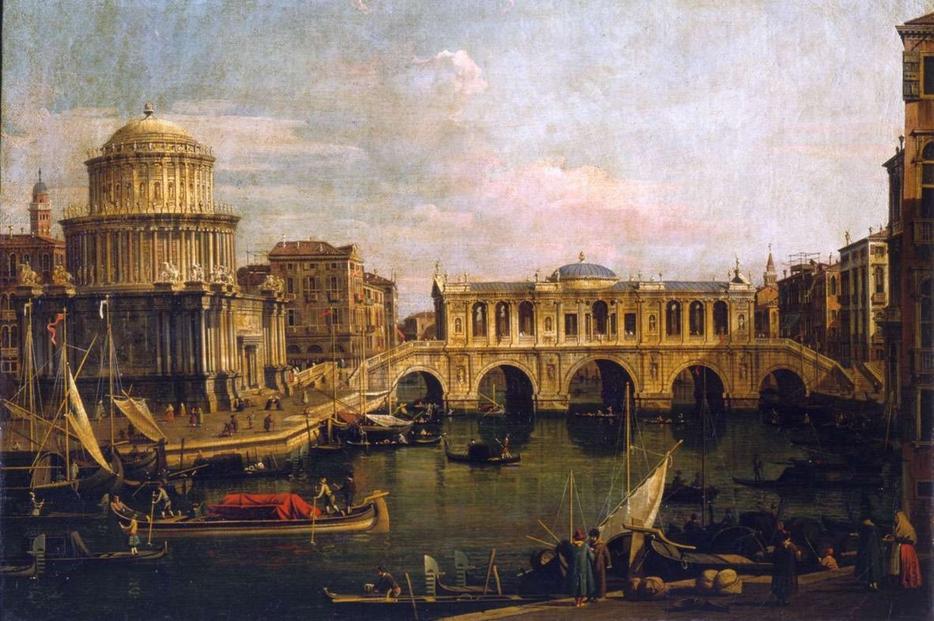 """Antonio Canaletto, """"Capriccio con ponte immaginario sul Canal Grande"""" (XVIII secolo)"""
