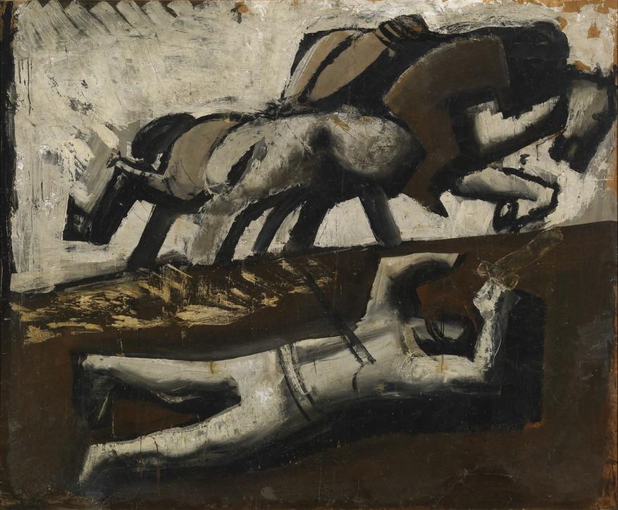 """Mario Sironi, """"Composizione (cavalli in fuga e caduto)"""" (1942)"""