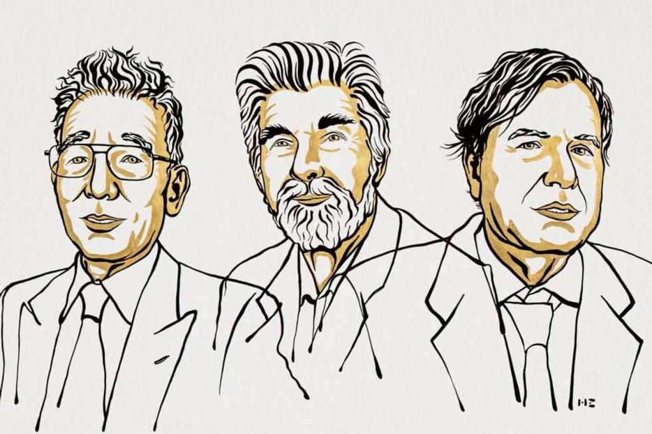 I tre premiati. Da sinistra: Syukuro Manabe, Klaus Hasselmann e Giorgio Parisi