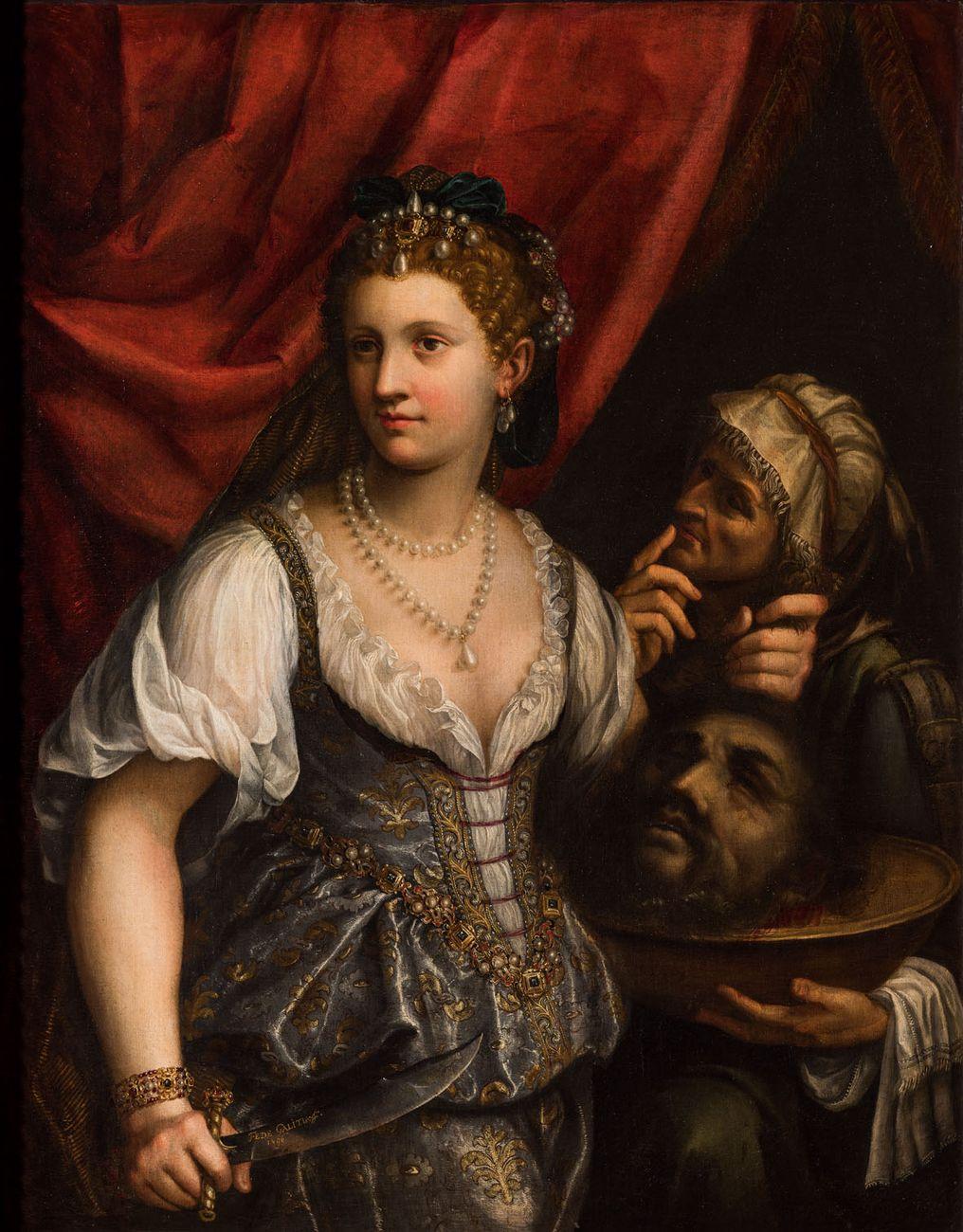 """""""Giuditta con la testa di Oloferne e la serva Abra"""" (1596) di Fede Galizia"""