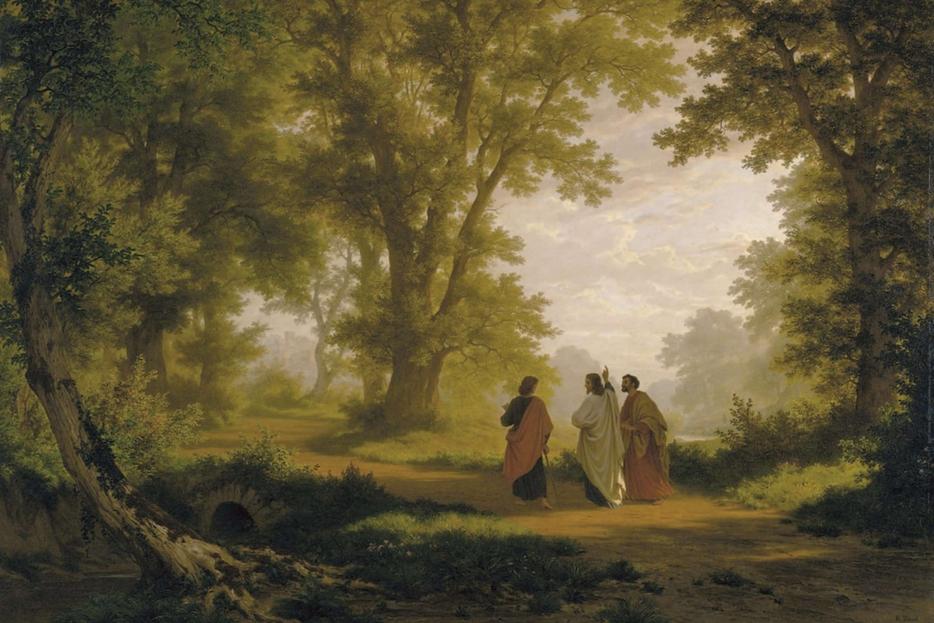 "Robert Zünd, ""La marcia verso Emmaus"" (1877)"