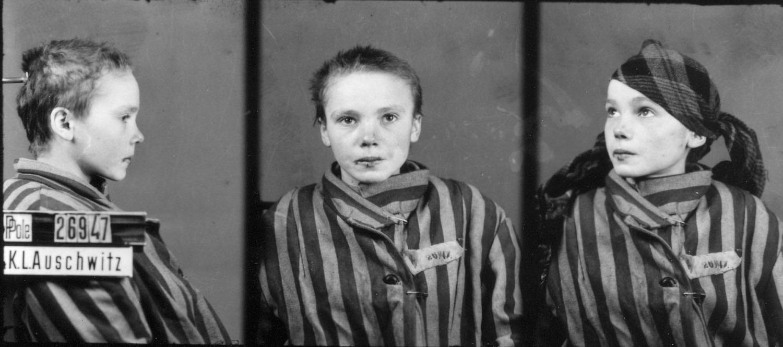 La foto segnaletica della giovane polacca Czesława Kwoka, prigioniera 26947, uccisa ad Auschwitz nel 1943