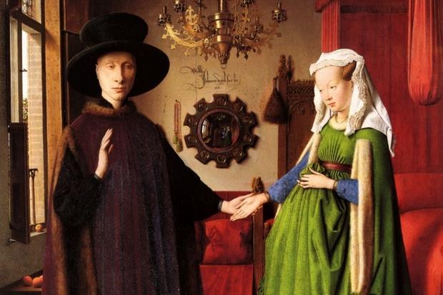 Un particolare del quadro dei Coniugi Arnolfini di Jan van Eych