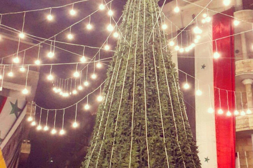 Aleppo ha il suo primo albero di Natale dal 2012. Lo hanno realizzato gli scout #peacepossible4Syria (Twitter Caritas Internationalis)