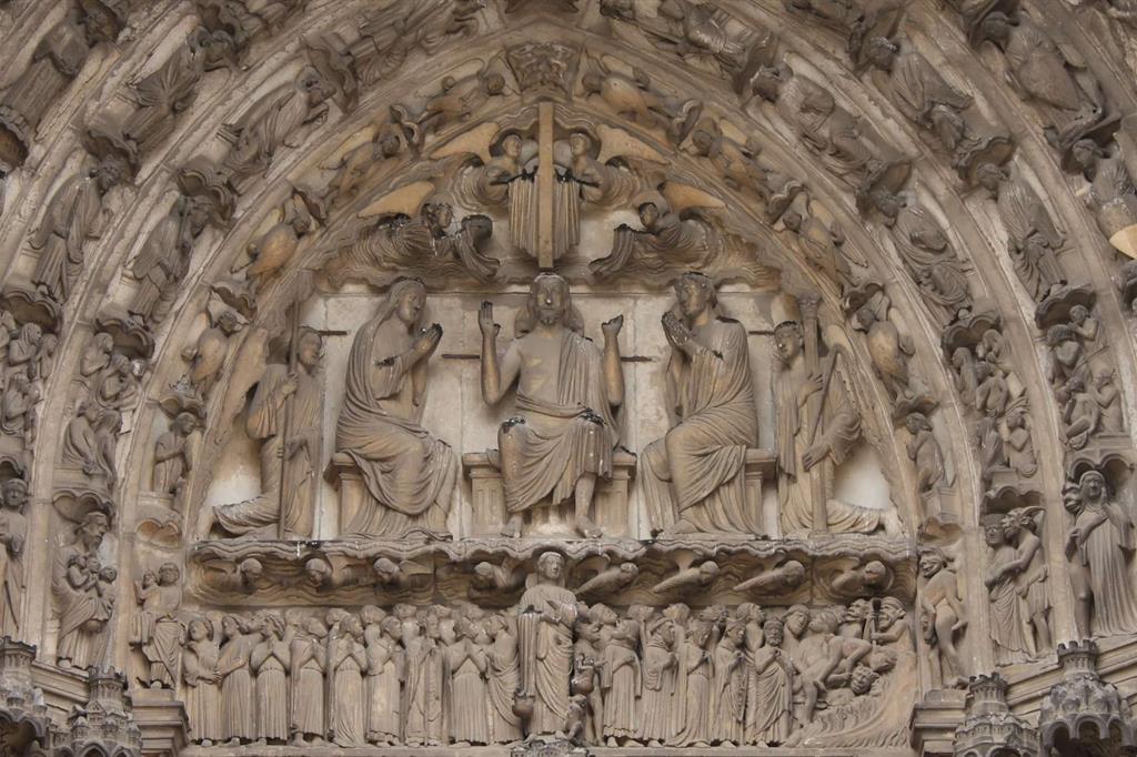 Giudizio Universale, cattedrale di Chartres, portale sud, XII secolo (WikiCommons)