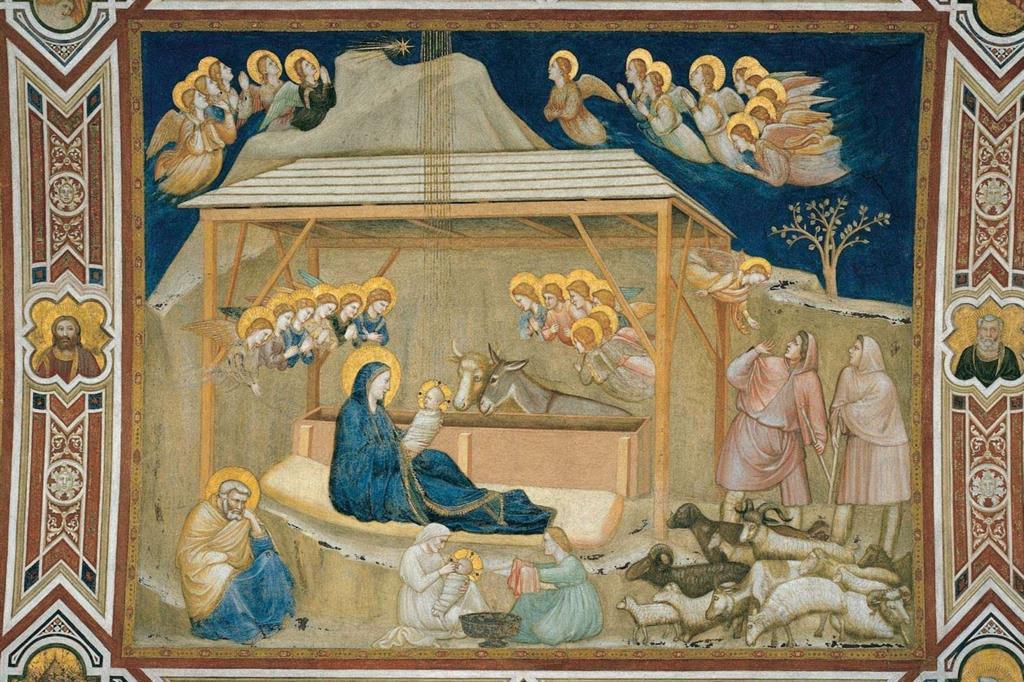 La Natività affrescata da Giotto nel transetto destro della Basilica inferiore di San Francesco d'Assisi