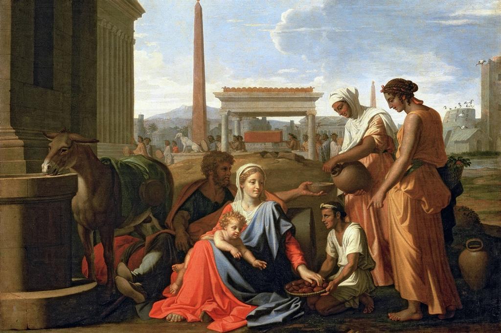 """Nicolas Poussin, """"Riposo durante la fuga in Egitto"""", San Pietroburgo, Museo dell'Ermitage (Wikicommons)"""