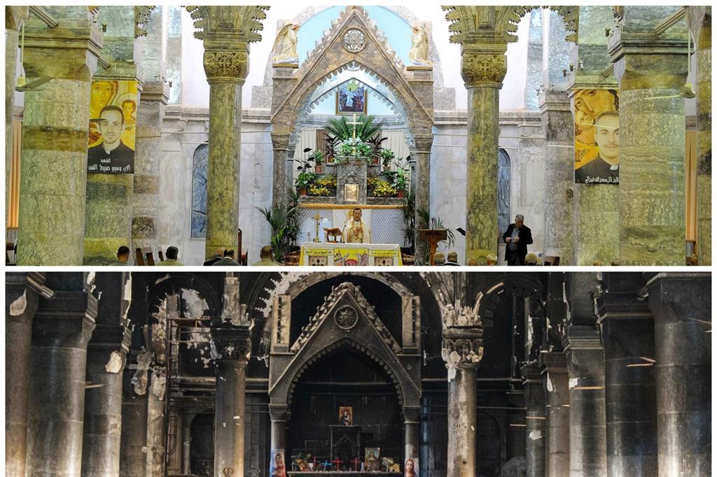 Anche gli interni della cattedrale non sono stati risparmiati: fumo nero di incendi e macerie. -