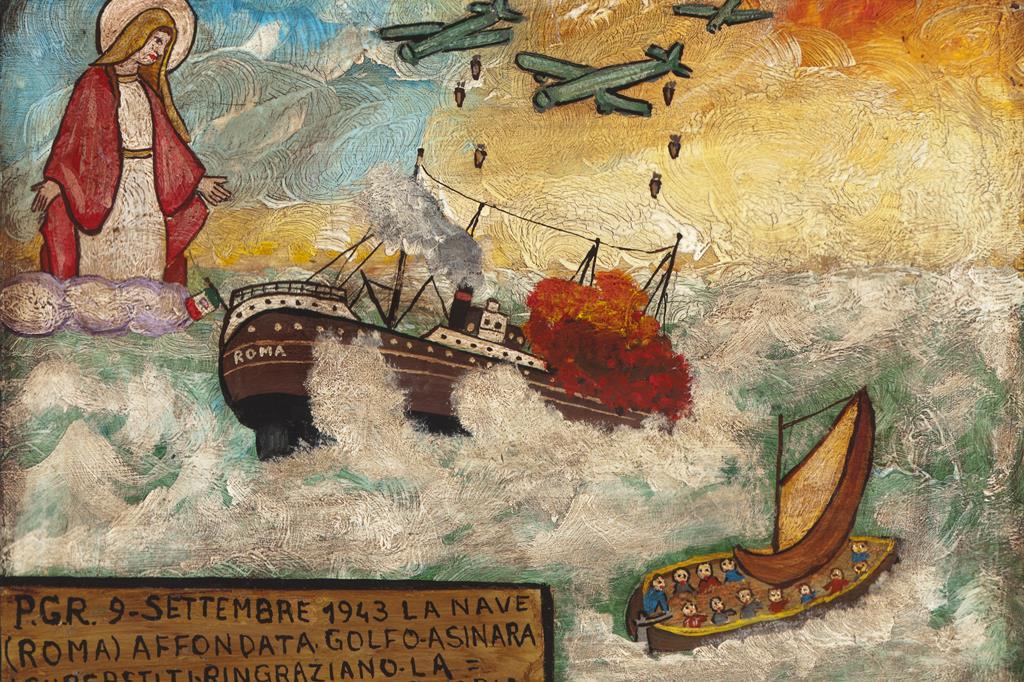 Italia centrale, 1943, acrilico su tavola. La data 9 settembre 1943 rimanda all'affondamento della Corazzata Roma, rappresentato però nel dipinto come un piroscafo civile. La corazzata fu consegnata alla Regia Marina il 14 giugno 1942. Non vide azioni di guerra e fece parte subito dopo l'armistizio del convoglio di navi che prese il mare alla volta dell'Isola della Maddalena (come concordato dal re e Badoglio con gli Alleati). La formazione di navi fu intercettata da bombardieri della Luftwaffe i quali colpirono e affondarono la corazzata presso il Golfo dell'Asinara. Persero la vita 1352 marinai e 622 furono i superstiti. -
