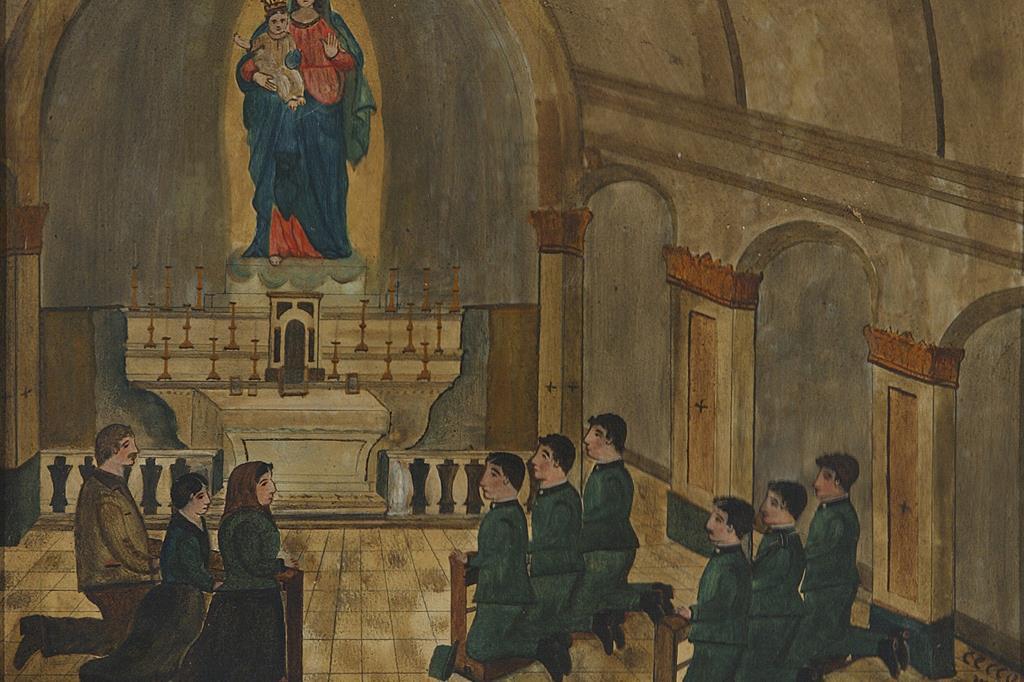 1919, Madonna delle Rocche (Piemonte), olio su tavola. L'ex voto ringrazia per la salvezza di sei fratelli Carosio sul fronte della Grande Guerra. -