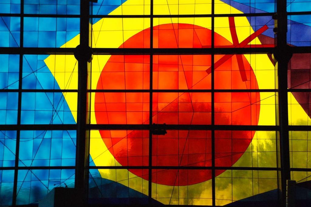 Padre Costantino Ruggeri, particolare delle vetrate del santuario del Divino Amore a Roma -