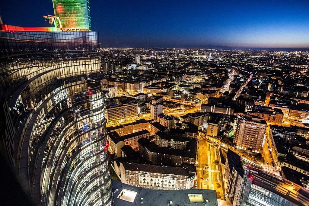 Milano vista dal grattacielo più alto d'Italia, la Torre dell'Unicredit
