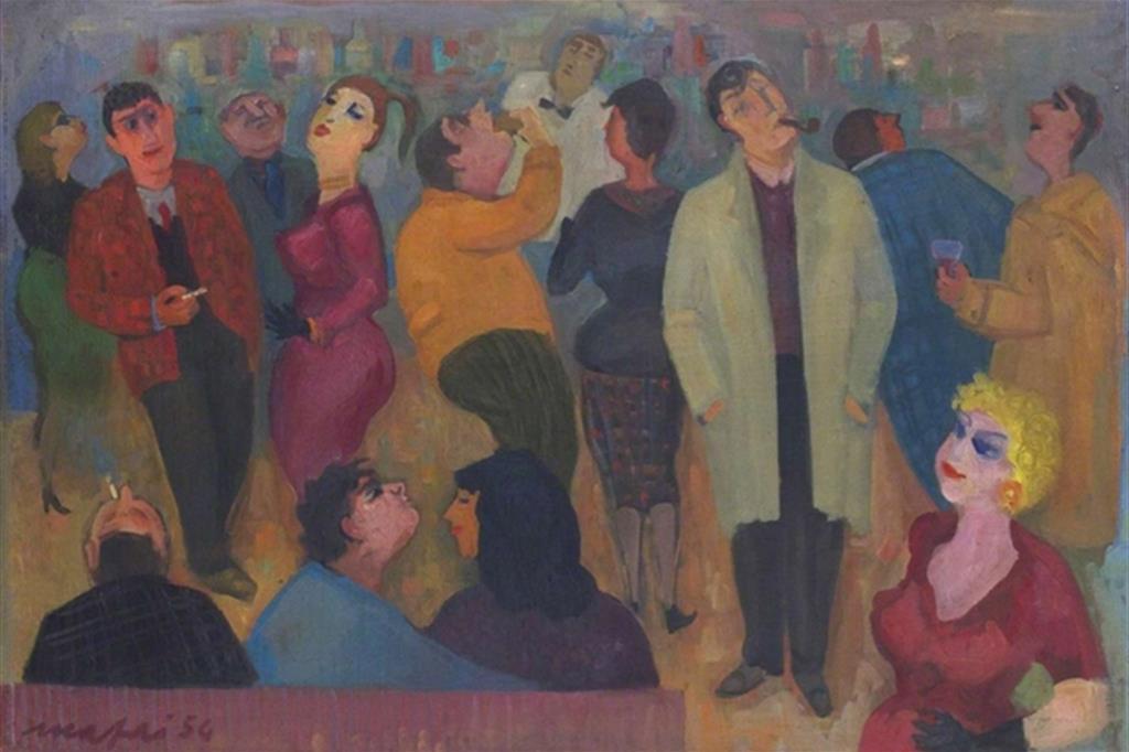 """Il famoso dipinto di Mario Mafai del 1954 dal titolo: """"Il caffè degli intellettuali"""""""
