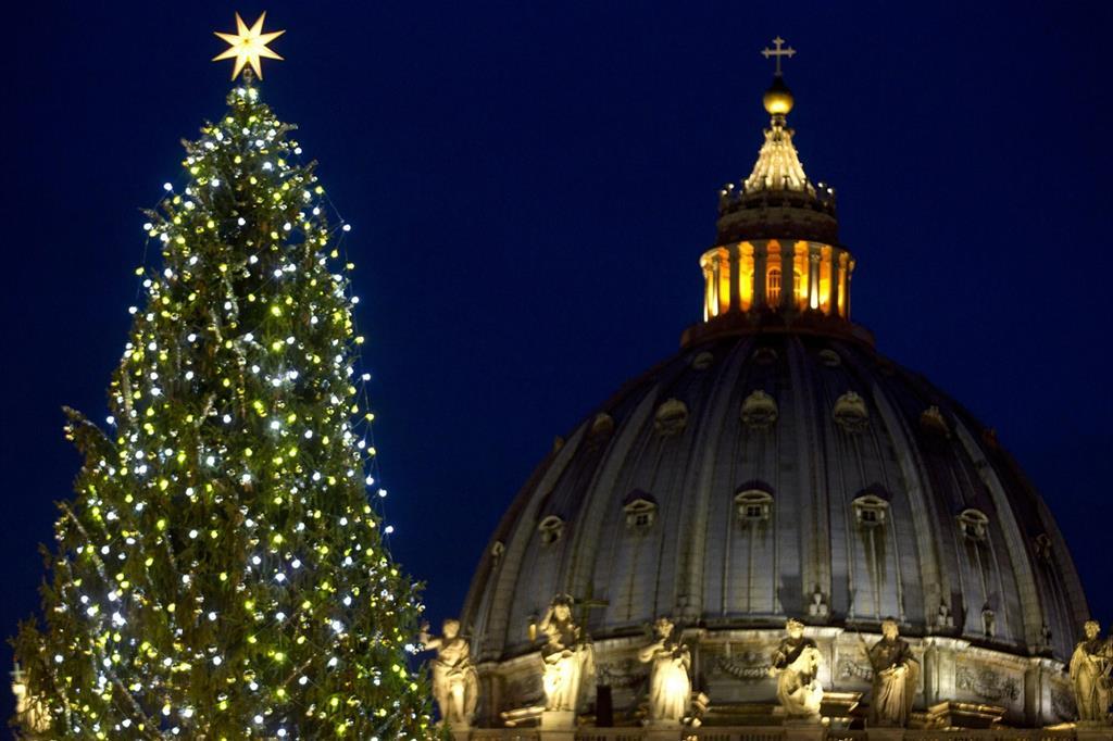 L'albero di Natale di fronte alla Basilica Vaticana in piazza San Pietro negli anni scorsi (foto Ansa)
