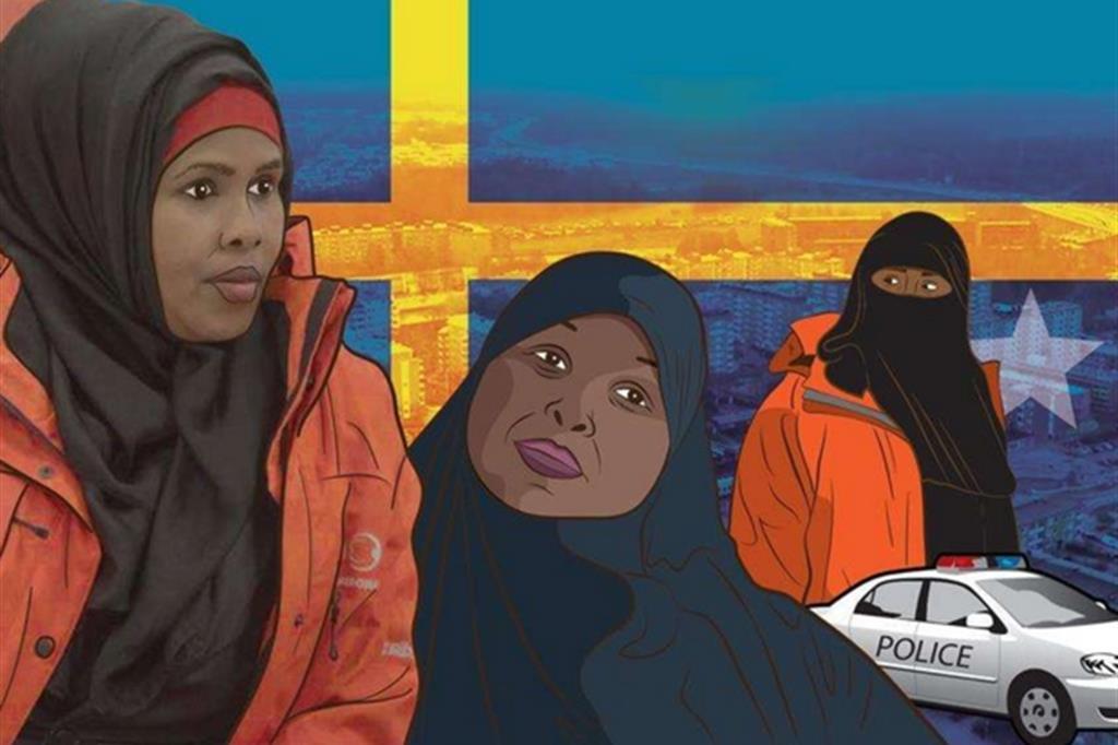 "Un frame di un video di Al Jazeera sulle ""Mother's night patrol"""