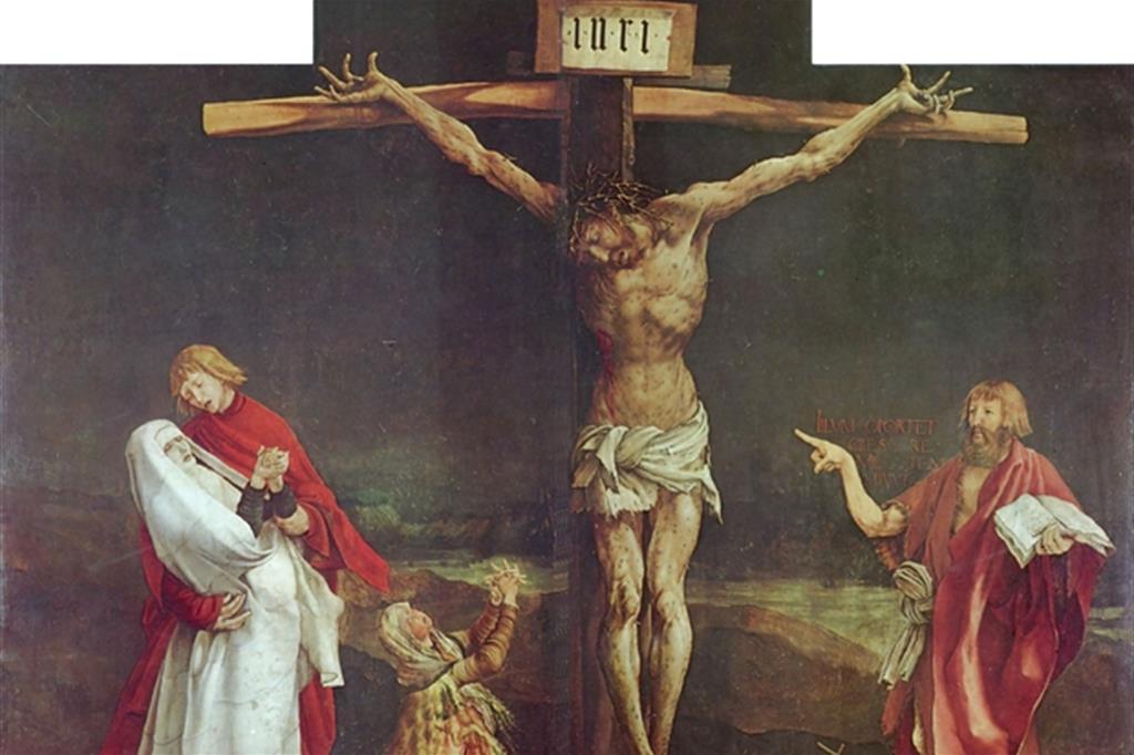 """""""La Crocifissione"""" del pittore tedesco Matthias Grünewald costituisce uno dei pannelli centrali dell'Altare di Isenheim conservato nel Musée d'Unterlinden a Colmar. È datato tra il 1512 e il 1516. Maria è raffigurata con il velo e una veste bianca."""