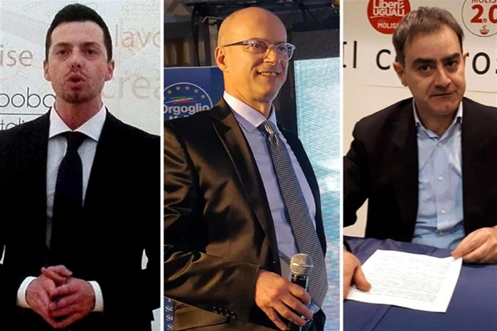 Da sinistra, i candidati presidenti alla Regione Molise: Andrea Greco (M5S), Donato Toma (centrodestra) e Carlo Veneziani (PD). (Ansa)