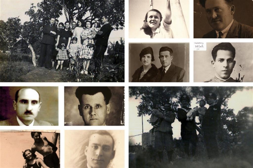 IN SENSO ORARIO: La famiglia del carabiniere Domenico Bruno; Mafalda Codan con il fratello Arnaldo e (a destra) il padre Rodolfo (7 infoibati in famiglia); Carmelo D'Aliberti (la moglie impazzì); Cernecca con la moglie (impiegato comunale, decapitato); Il carabiniere Bruno con in braccio Grazia; Lodovico Tarticchio (7 infoibati in famiglia); Luigi Bruno (in basso); Enrichetta Hödl, sparita a 17 anni; Gerlando Vasile.