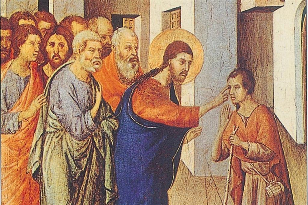 """Particolare del quadro di Duccio di Buoninsegna (1300 ca) """"La guarigione del cieco nato"""" (tempera e oro su tavola, Londra, National Gallery)"""