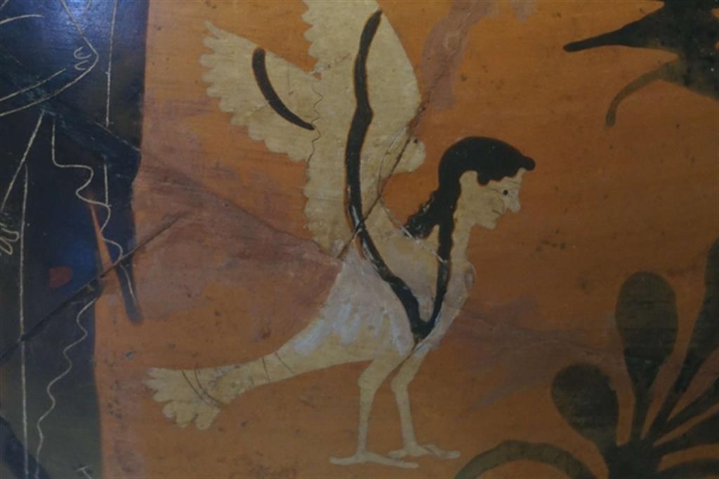 """""""Sirena"""", particolare di un'anfora attica del V secolo a.C."""