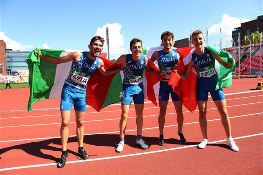 Gjetia, Scotti, Romani e Sibilio hanno vinto la 4x400 ai Mondiali under 20 di atletica a Tampere (Giancarlo Colombo)
