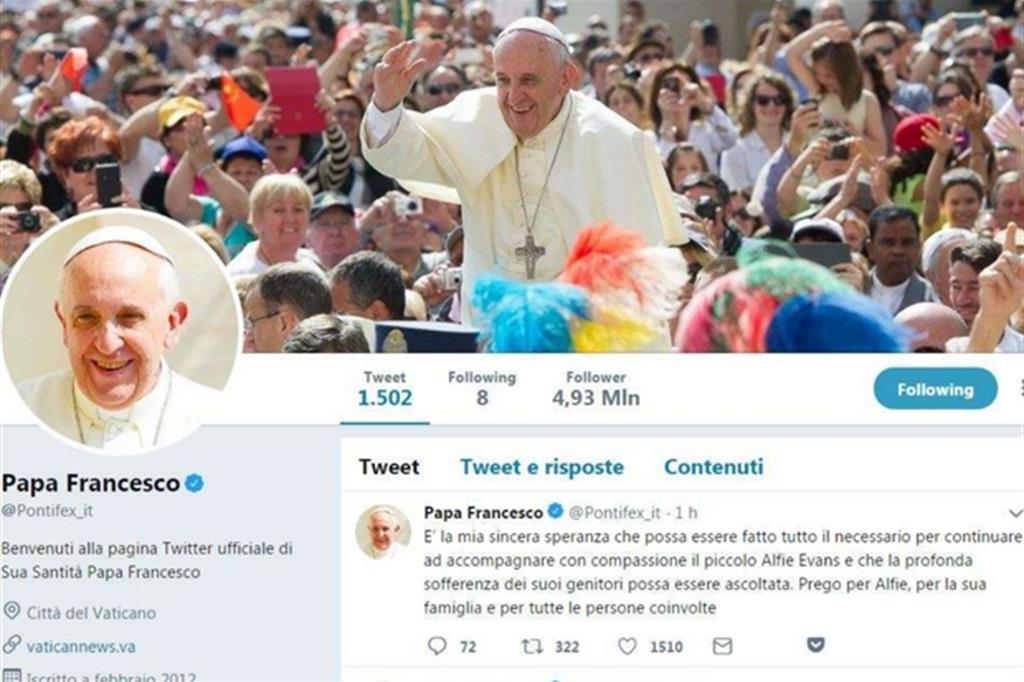 Tweet di papa Francesco per Alfie Evans e la sua famiglia