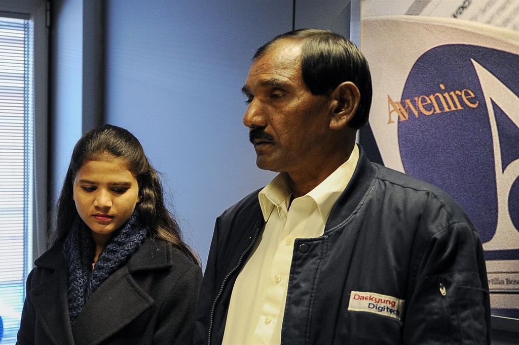 Ashiq Masih e la figlia Eisham in visita ad «Avvenire» il 25 febbraio scorso