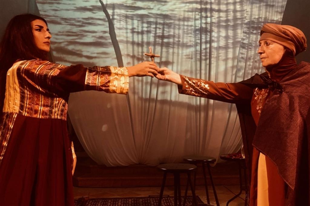 "Valeria Kadija Collina e Mirna Kassis in ""Francesco e il Sultano Ainalsharaa – Il pozzo dei poeti"""