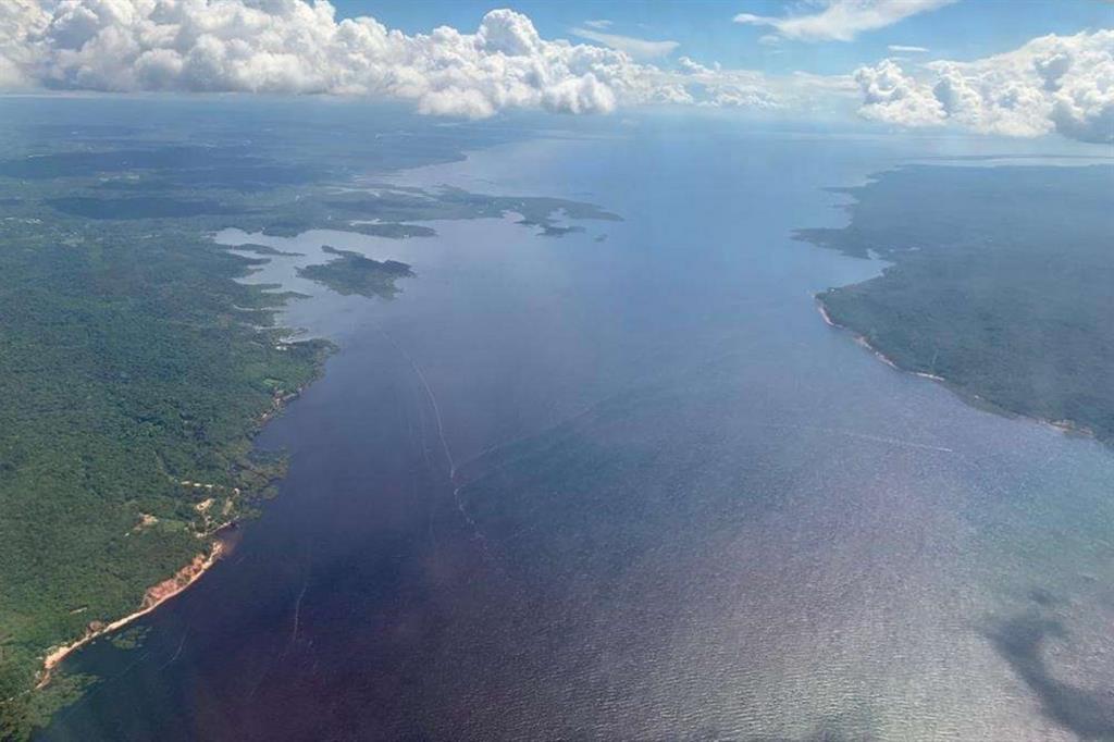 Un'immagine aerea dell'imponente corso del Rio delle Amazzoni