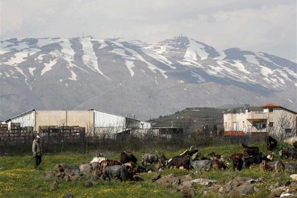 Il villaggio di Buqata, nelle alture del Golan: il 22 marzo Trump ha riconosciuto la sovranità di Israele (Ansa)