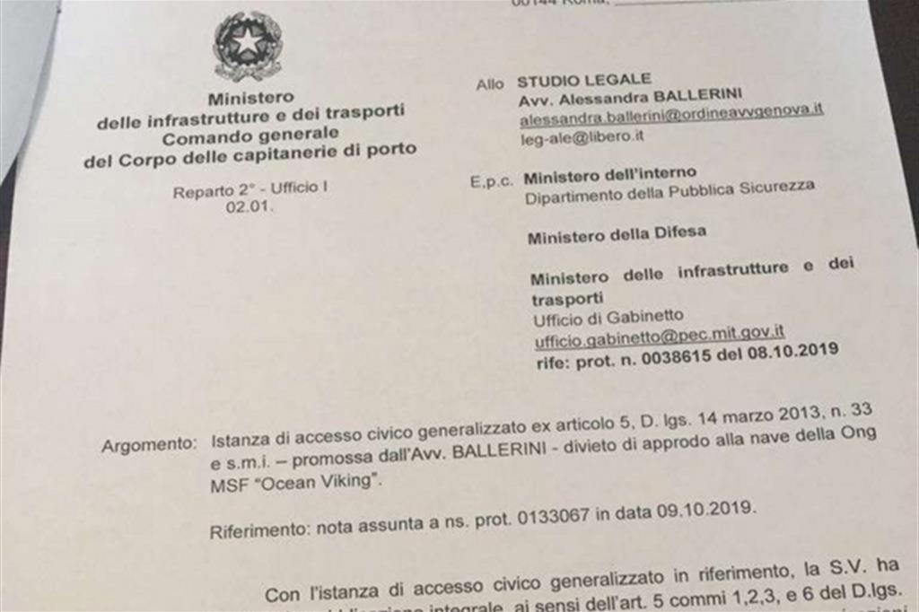 Il documento con cui le autorità italiane ribadiscono il segreto sui rapporti con la Libia