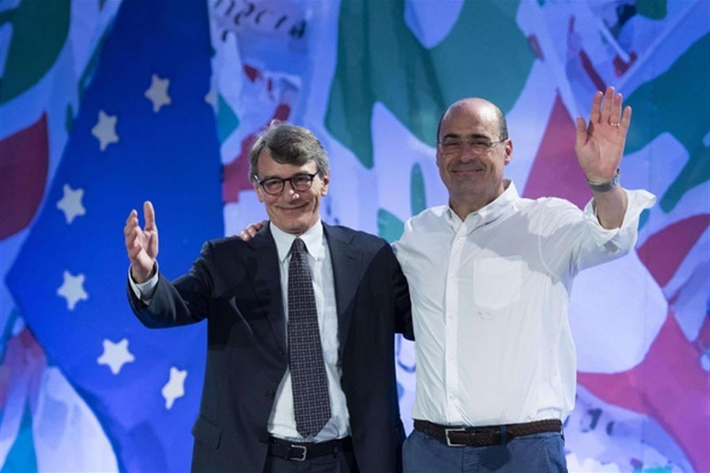 Il segretario del Pd Nicola Zingaretti con il neo eletto presidente del Parlamento europeo David Sassoli