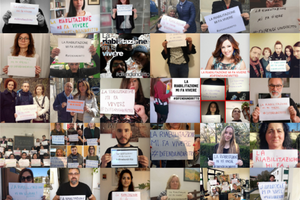 Il mosaico realizzato da Aism con le immagini postate dai malati di sclerosi multipla e lo slogan: #difendiundiritto