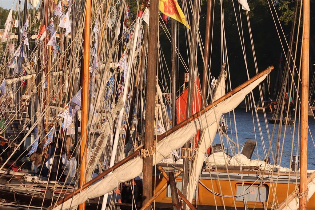 Un'altra specificità dei battelli in mostra ad Orléans sono le coloratissime girandole banderuole in cima agli alberi, talora con stemmi caratteristici di ogni imbarcazione -