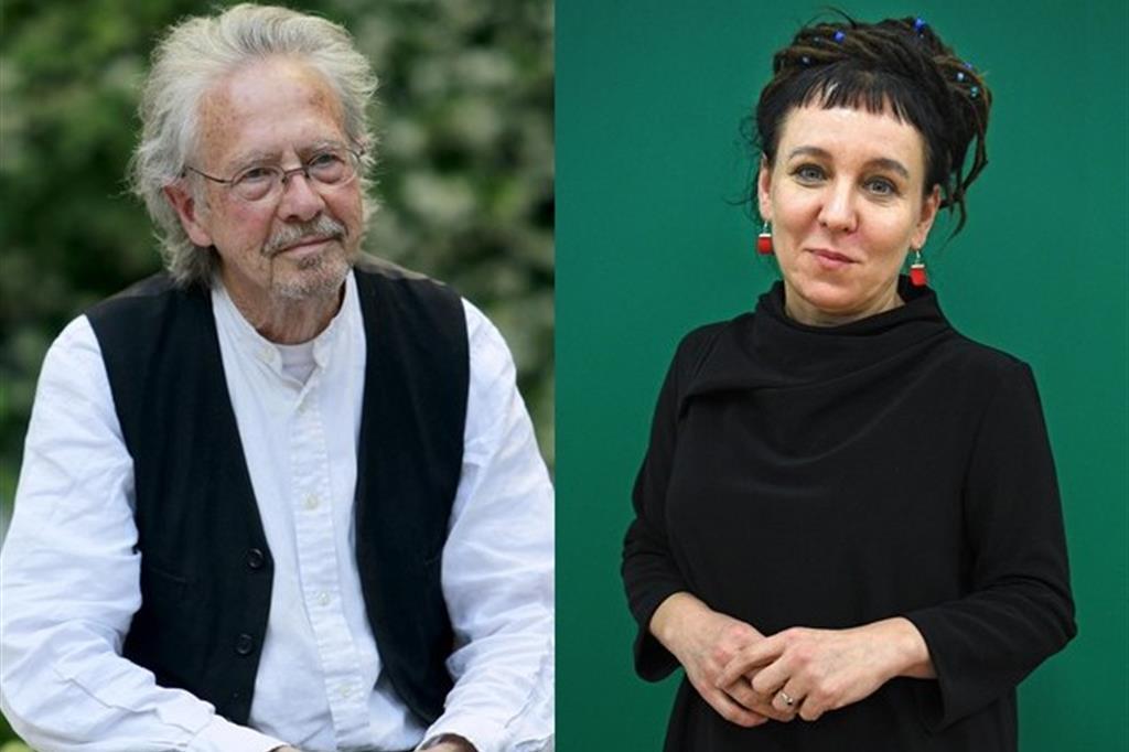 Lo scrittore austriaco Peter Handke, premio Nobel per la Letteratura 2019 e la scrittrice polacca Olga Tokarczuk, premio Nobel per la letteratura 2018 (Ansa))