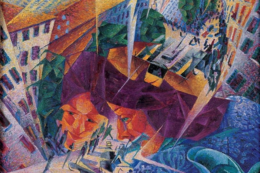 """""""Visioni simultanee"""" (particolare), un dipinto di Umberto Boccioni del 1911"""