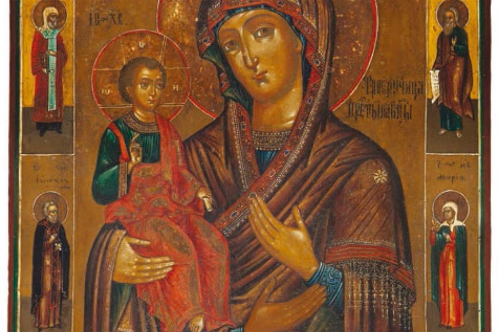 L'icona della Madonna delle Tre Mani, particolare. L'immagine è tratta dal libro «Tre mani dalla Russia», di prossima uscita presso l'editore Priuli e Verlucca