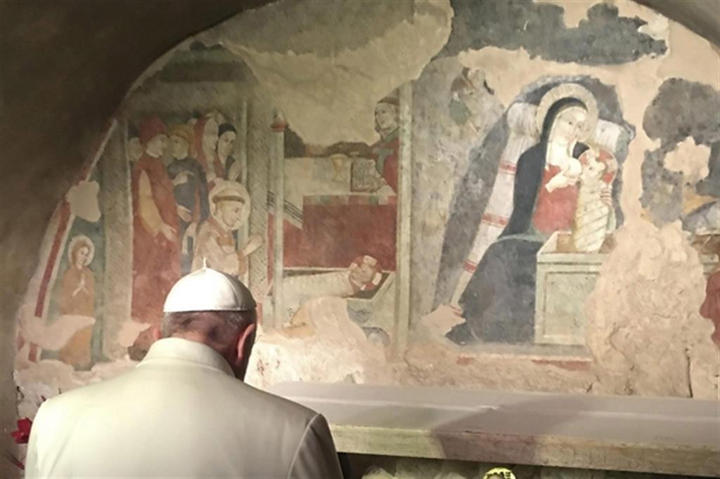 Papa Francesco a Greccio il 4 gennaio 2016 (Osservatore Romano)