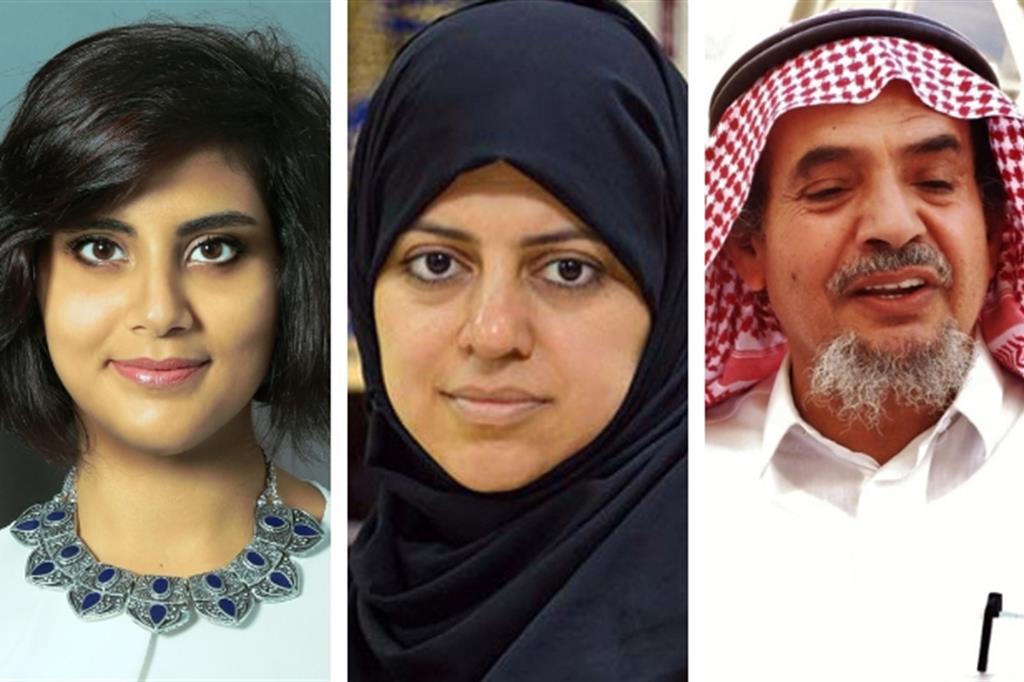 Da sinistra Loujain al Hathloul, Nassima al Sada e Abdullah al Hamid