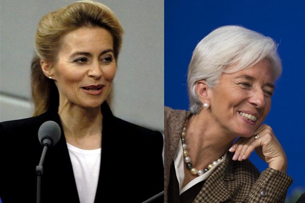 A sinistra Ursula van der Leyen e a destra Christine Lagarde